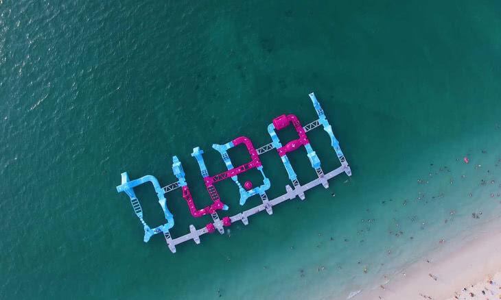 Overhead view of Aqua Park Dubai -- Bachelorette Party Activities for the Active Bride