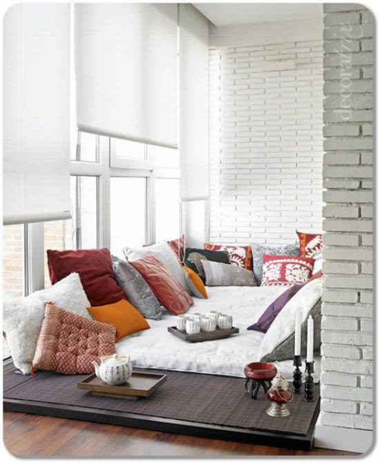 Corner of a loft with blankets and cushions and tea - Bachelorette Party Decor for the Casual Bride