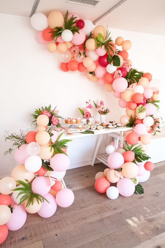 Pink and Peach Balloon Arch with foliage - Bachelorette Party Decor for the Break the Bank Bride