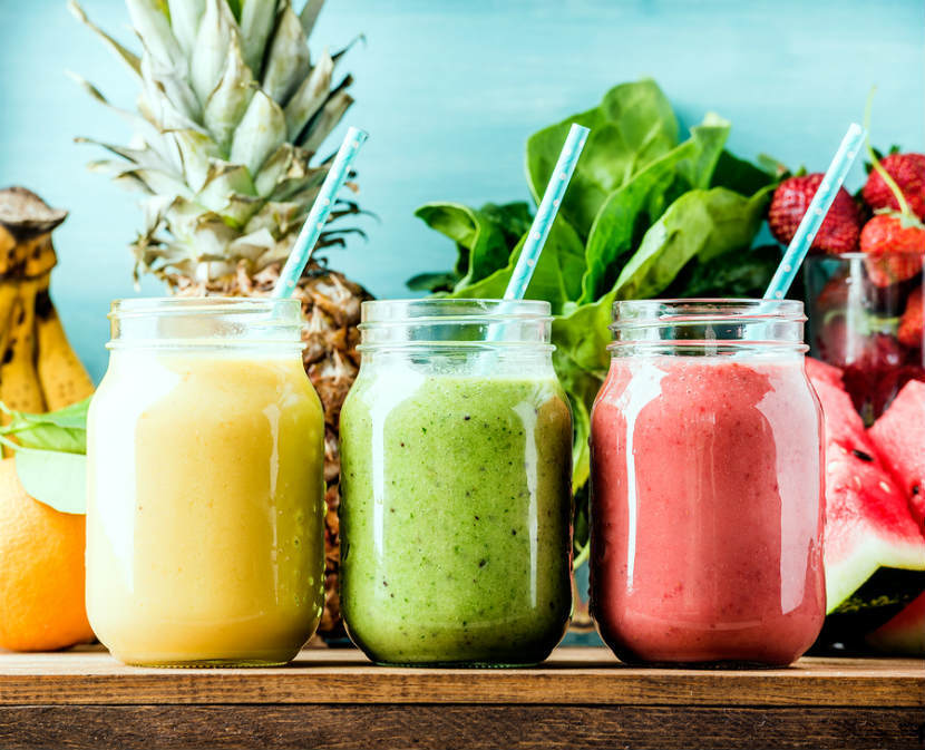 Three colourful fruit smoothies - Bachelorette Party Food  for the Active Bride