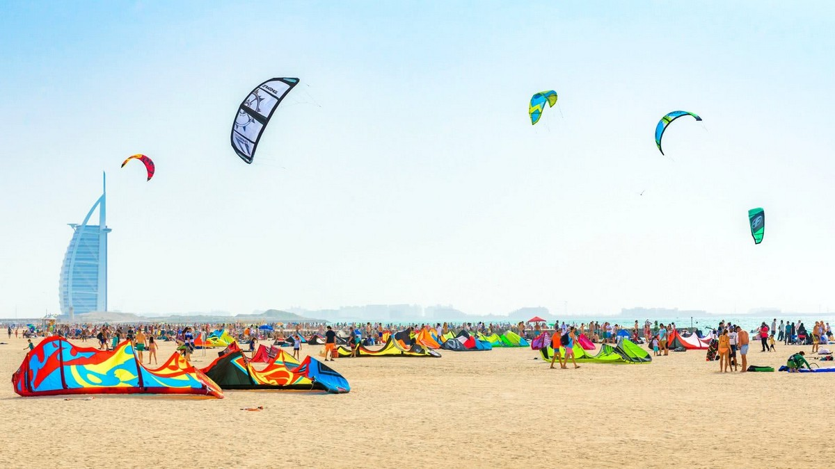 Various kites on the beach with the Burj Al Arab in the background- Bachelorette Party Decor for the Budget Bride