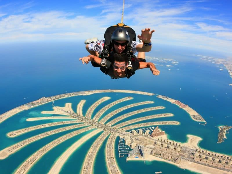 Two people Skydving over the Palm Dubai - Bachelorette Party Activities for the Break the Bank bride