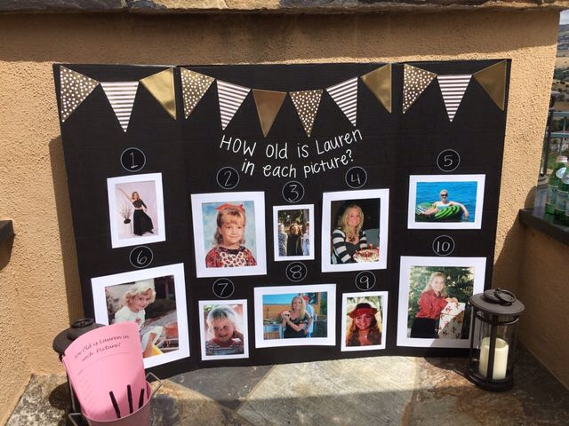 Board with photos of the bride and different ages - Bachelorette Party Games for the Casual Bride