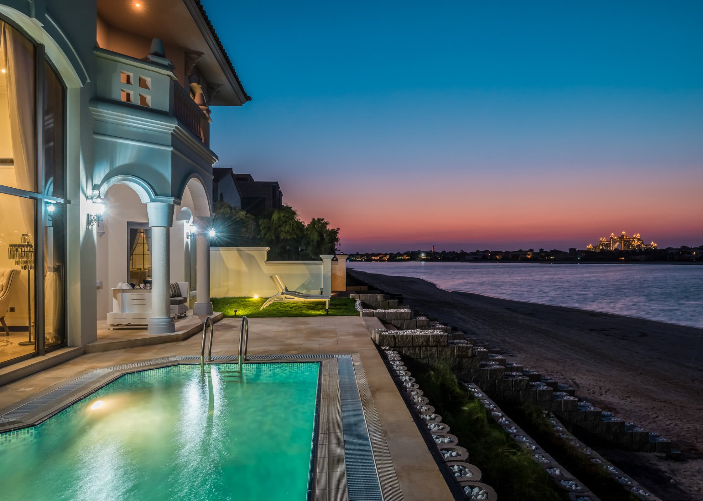 Luxury Villa with lit pool and view over the beach in Dubai - Bachelorette Party Activities for the Break the Bank Bride