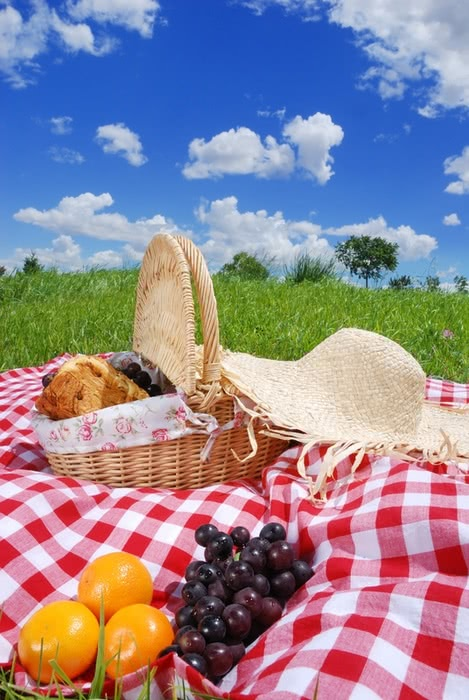 Picnic basket and blanket with food and blue skies - Bachelorette Party Activities for the Budget Bride
