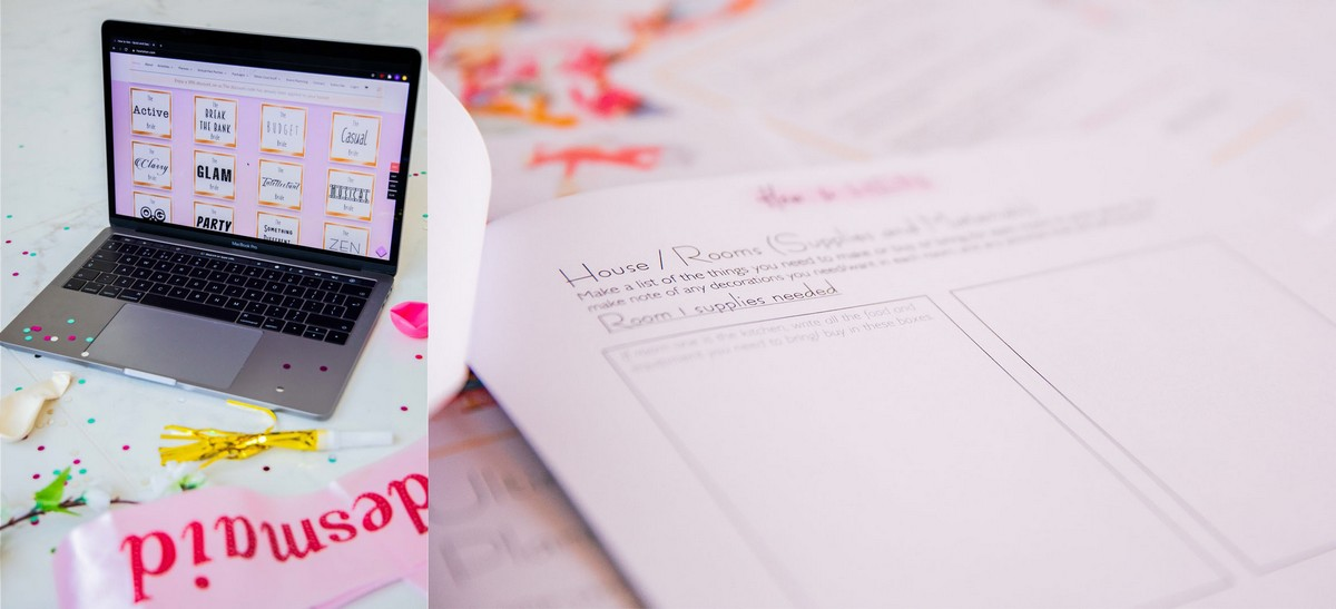 Side by side image of a laptop showing Bachelorette ideas by Types of Bride (left) and a close up on of of the hen party planning documents (right)