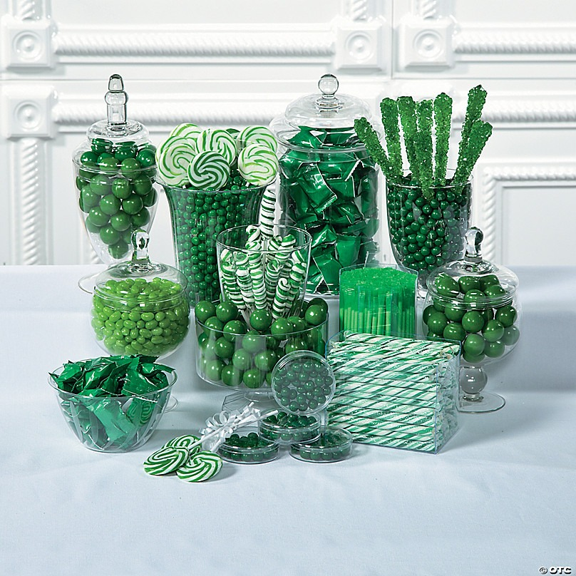 A table of green sweets and candy - Ideas for a Loki Themed Hen Party Food