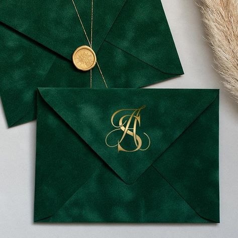Green velvet envelopes with gold seal - Ideas for a Loki Themed Hen weekend